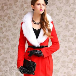 Dabuwawa - Wool-Blend Faux-Fur-Collar Coatdress
