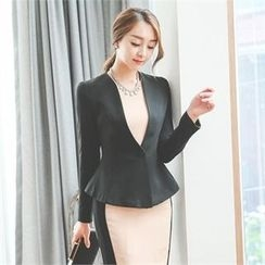 ode' - Collarless Single-Breasted Jacket