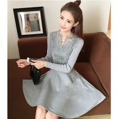 Yinaike - Long-Sleeve Lace Panel A-Line Dress