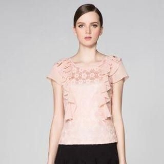 O.SA - Ruffle Chiffon-Sleeve Lace Top