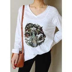 J-ANN - V-Neck Printed T-Shirt