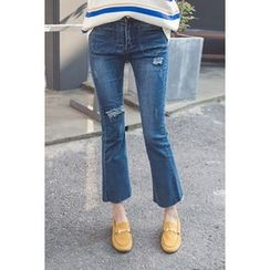 migunstyle - Distressed Boot-Cut Jeans