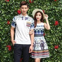 Azure - Couple Matching Printed Short Sleeve Polo T-Shirt / Sleeveless A-Line Dress