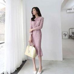 Hello sweety - Ruffle-Hem Lace Dress