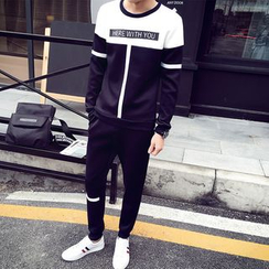 Danjieshi - Set: Two-Tone Sweatshirt + Sweatpants
