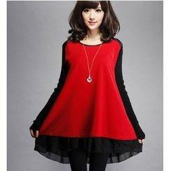 Oaksa - Long-Sleeve Color Block A-line Dress