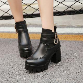 Shoes Galore - Buckled Block Heel Platform Short Boots