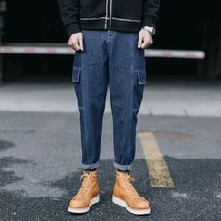 YIDESIMPLE - Stitched Straight-Cut Cargo Jeans