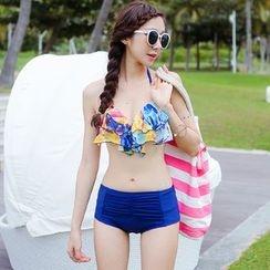 Beach Date - Printed Ruffle Bikini Set