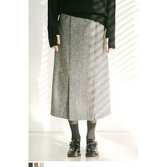 QQQQ - Houndstooth Wool Blend Long Skirt