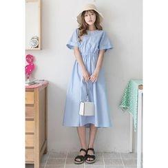 GOROKE - Gathered-Waist Cotton Long Dress