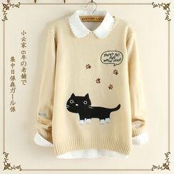白金天使 - 貓貓貼布繡毛衣