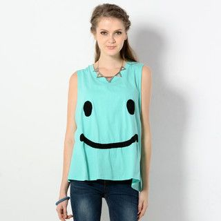 59 Seconds - Sleeveless Smiley Face Top