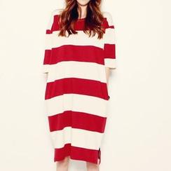 Au Naturel - Stripe Short-Sleeve T-shirt Dress