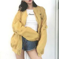時尚麻豆家 - 印字刺繡飛行夾克