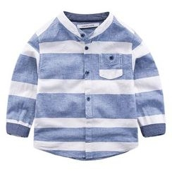 DEARIE - Kids Band Collar Striped Shirt