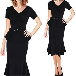 Forest Of Darama - Short-Sleeve Peplum Dress with Belt