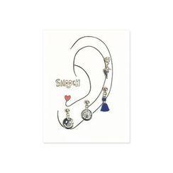 LIFE STORY - Set: Smile / Tassel / Heart Earrings (4 pcs)