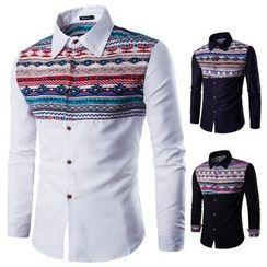 Blueforce - Patterned Panel Long-Sleeve Shirt