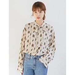 FROMBEGINNING - Tie-Neck Floral Blouse
