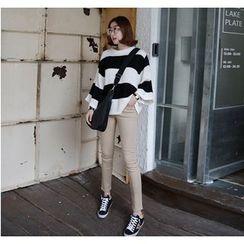 Miamasvin - Kimono-Sleeve Striped Knit Top