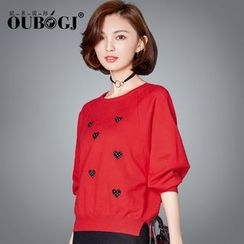 OUBO - Heart Applique Sweater