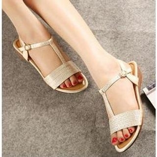 X Times - Rhinestone T-Strap Sandals