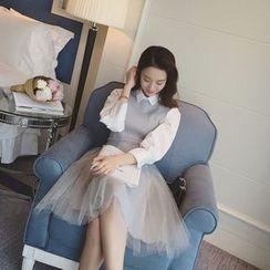 AIGIL - Set: Long-Sleeve Tulle Dress + Knit Vest