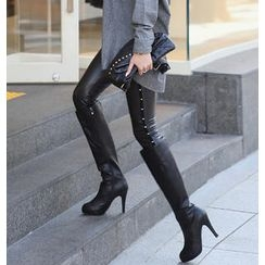 REDOPIN - Wet-Look Metal Studded Leggings