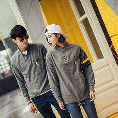 Evolu Fashion - Couple Matching Colarless Long Sleeve Polo Shirt