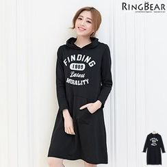 RingBear - Long Sleeve Printed Hooded Dress