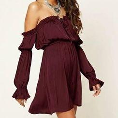 Chicsense - Off-Shoulder A-Line Dress