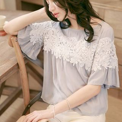 Tokyo Fashion - Elbow-Sleeve Lace Panel Top