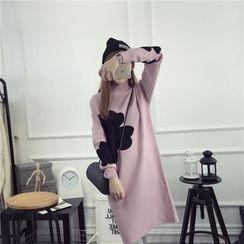 Viana Smile - 花樣圖案高領孕婦針織裙衣