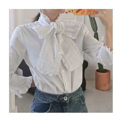 trendedge - Bow Frill Trim Blouse