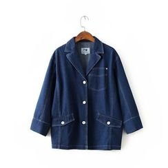 Neeya - Notch Lapel Long Denim Jacket