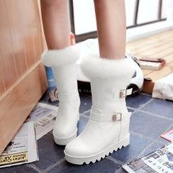 Pastel Pairs - Hidden Wedge Buckled Fluffy Trim Mid-calf Boots
