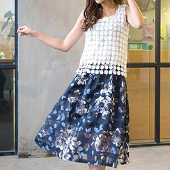 Hamoon - Set: Sleeveless Lace Top + Floral Skirt