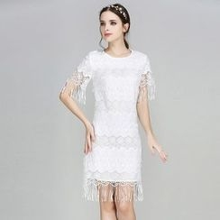 Elabo - Fringed Lace Shift Dress