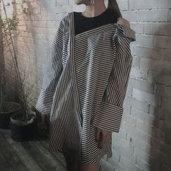 Katie Bloom - Mock Two Piece Striped Shirtdress