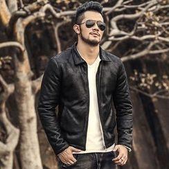 Mannmix - Faux Leather Jacket