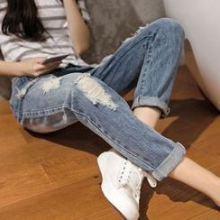 Mandalle - Distressed Straight-Cut Washed Jeans