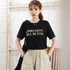 DEEPNY - Round-Neck Short-Sleeve Printed T-Shirt