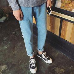 Streetstar - 撕破直筒牛仔褲