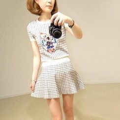 Pink Rabbit - Set: Jeweled Owl Check Knit Top + Knit Skirt