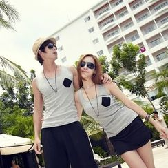 Je T'aime - Couple Matching Set: Contrast Pocket Tank Top + Shorts / Skort