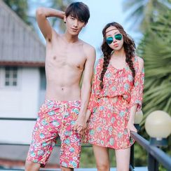Sweet Splash - Couple Matching Floral Print Bikini + Cover-up / Swim Shorts