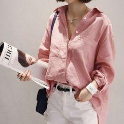 NANING9 - Linen Plain Shirt