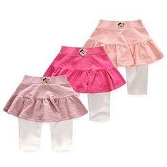 BINPAW - Kids Bear Applique Inset Skirt Leggings