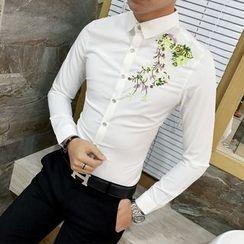 Besto - Flower Embroidered Shirt